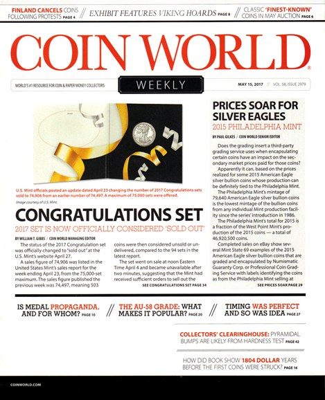 Coin World Weekly Cover - 5/15/2017
