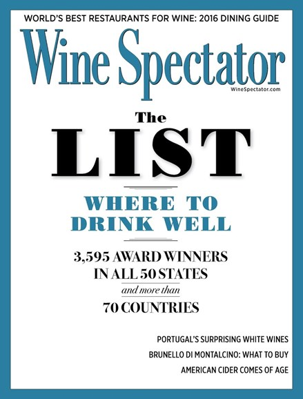 Wine Spectator Cover - 8/31/2016