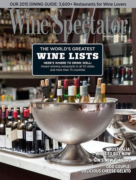 Wine Spectator Cover - 8/31/2015
