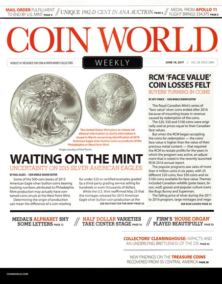 Coin World Weekly Cover - 6/19/2017