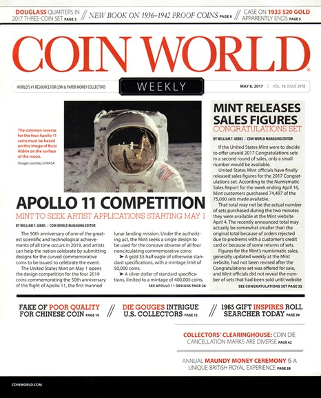 Coin World Weekly Cover - 5/8/2017