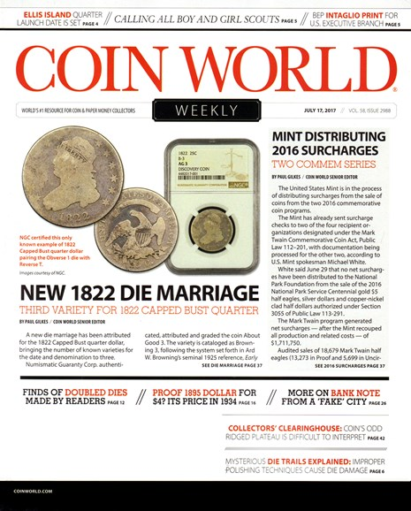 Coin World Weekly Cover - 7/17/2017