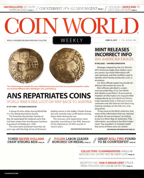 Coin World Weekly Cover - 6/12/2017
