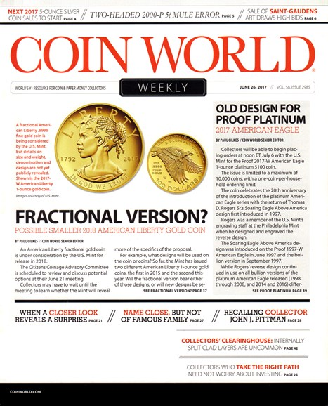Coin World Weekly Cover - 7/26/2017