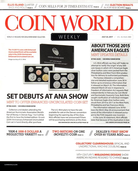 Coin World Weekly Cover - 7/24/2017