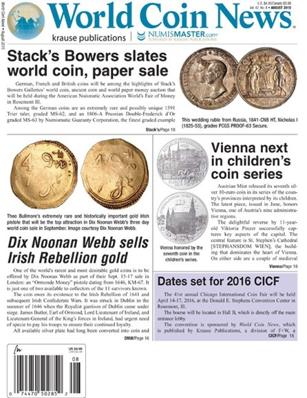 World Coin News Cover - 8/1/2015