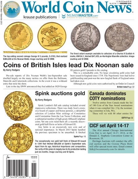 World Coin News Cover - 11/1/2015