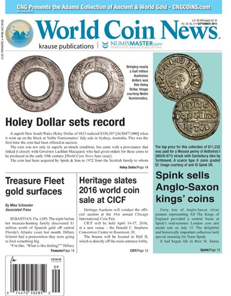 World Coin News Cover - 9/1/2015