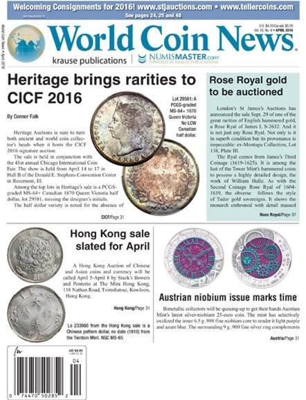 World Coin News Cover - 4/1/2016
