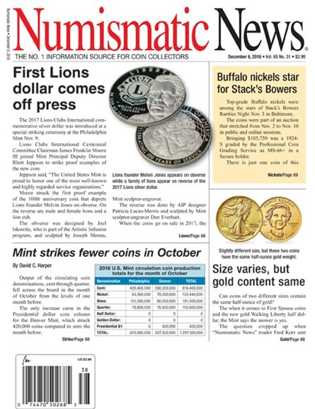Numismatic News Cover - 12/6/2016