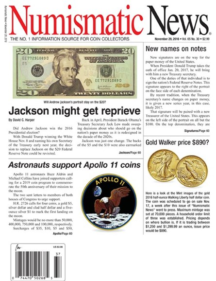 Numismatic News Cover - 11/29/2016