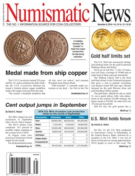 Numismatic News Cover - 11/8/2016