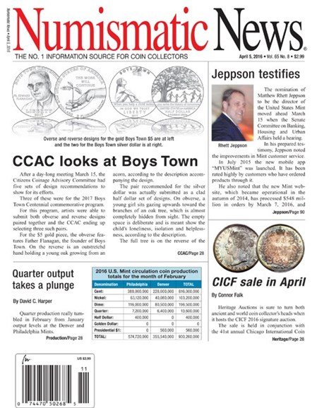 Numismatic News Cover - 4/5/2016