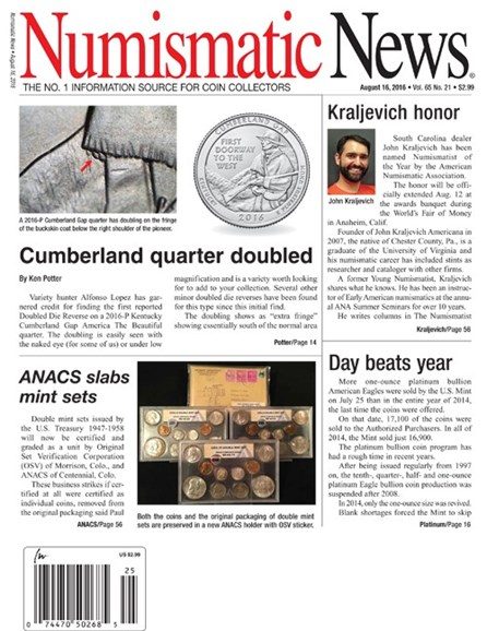 Numismatic News Cover - 8/16/2016