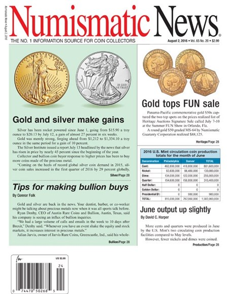 Numismatic News Cover - 8/2/2016