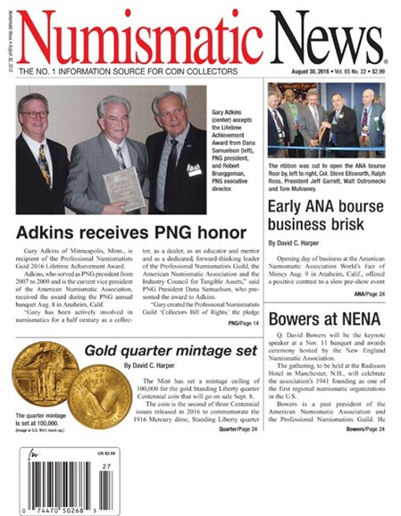 Numismatic News Cover - 8/30/2016