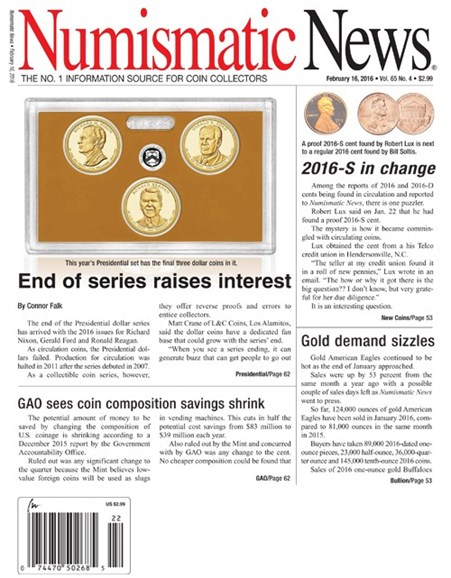 Numismatic News Cover - 2/16/2016