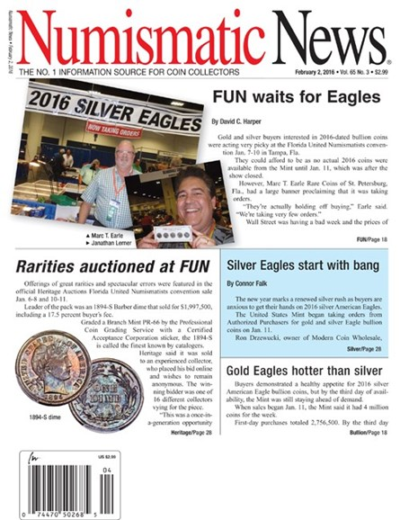 Numismatic News Cover - 2/2/2016