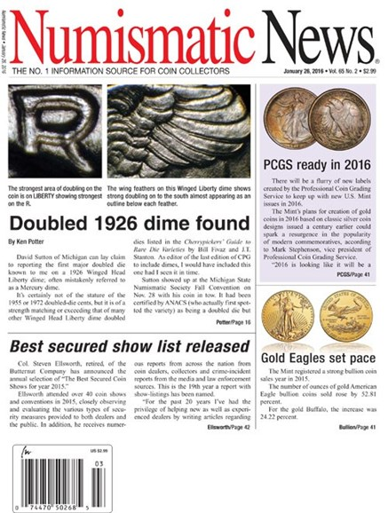 Numismatic News Cover - 1/26/2016