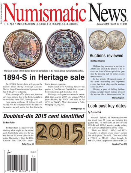 Numismatic News Cover - 1/5/2016
