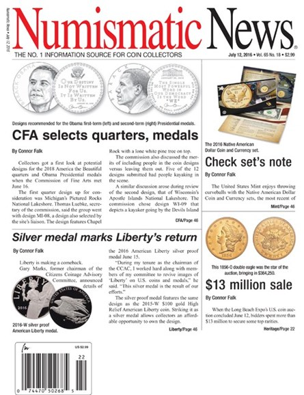 Numismatic News Cover - 7/12/2016