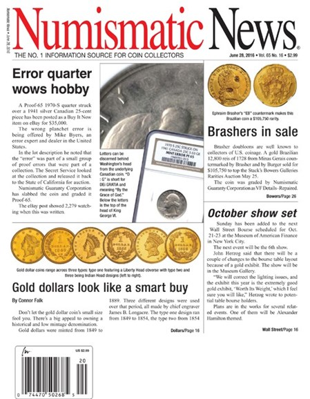 Numismatic News Cover - 6/28/2016