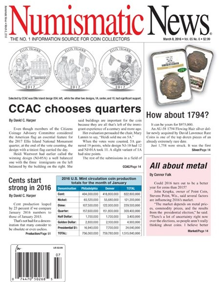 Numismatic News Cover - 3/8/2016