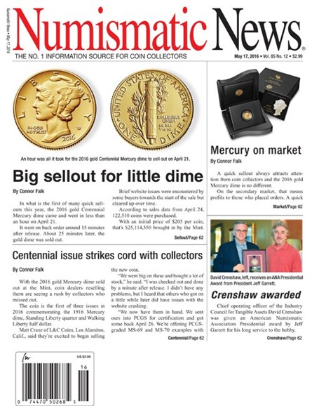 Numismatic News Cover - 5/17/2016