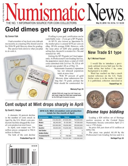 Numismatic News Cover - 5/31/2016