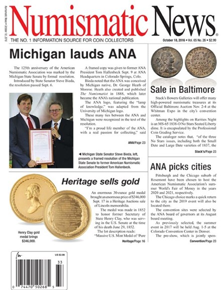 Numismatic News Cover - 10/18/2016