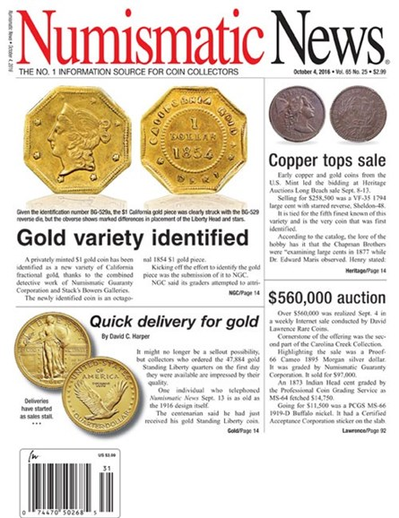 Numismatic News Cover - 10/4/2016