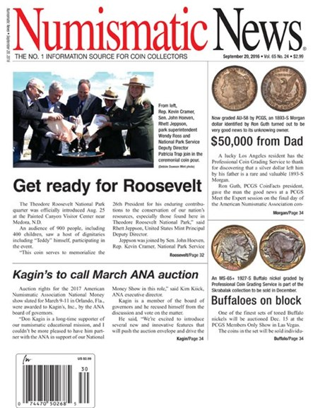 Numismatic News Cover - 9/20/2016