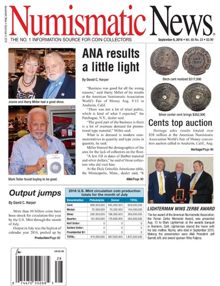 Numismatic News Cover - 9/6/2016