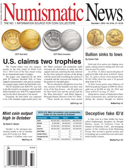Numismatic News Cover - 12/1/2015