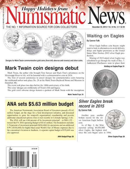 Numismatic News Cover - 12/22/2015