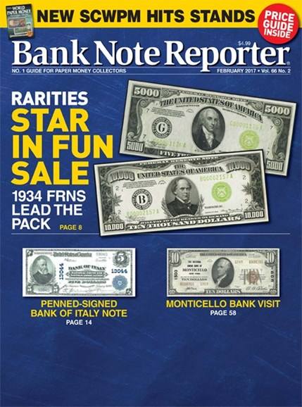 Bank Note Reporter Cover - 2/1/2017