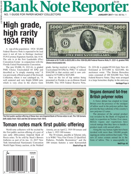 Bank Note Reporter Cover - 1/1/2017