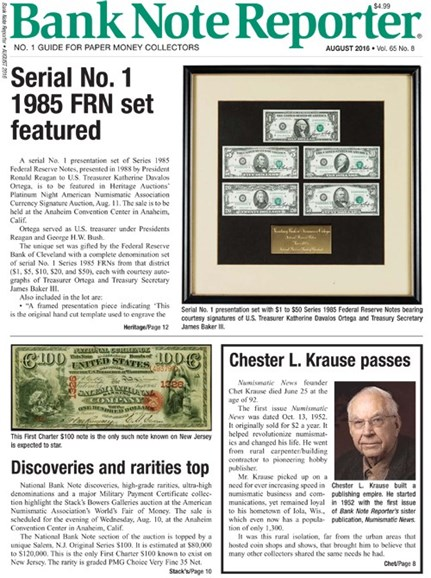 Bank Note Reporter Cover - 8/1/2016