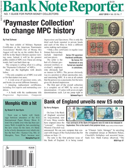 Bank Note Reporter Cover - 7/1/2016