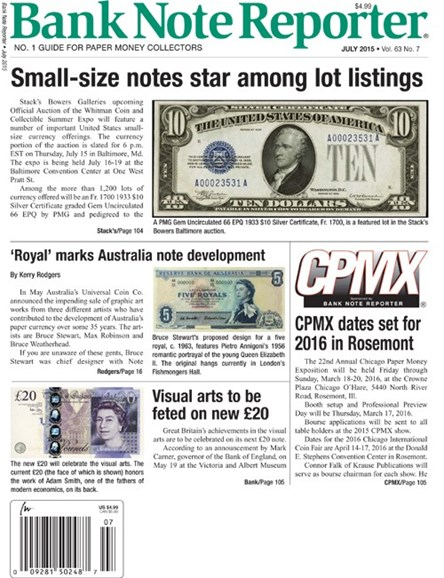 Bank Note Reporter Cover - 7/1/2015