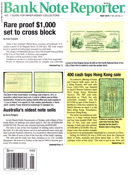 Bank Note Reporter Cover - 5/1/2014