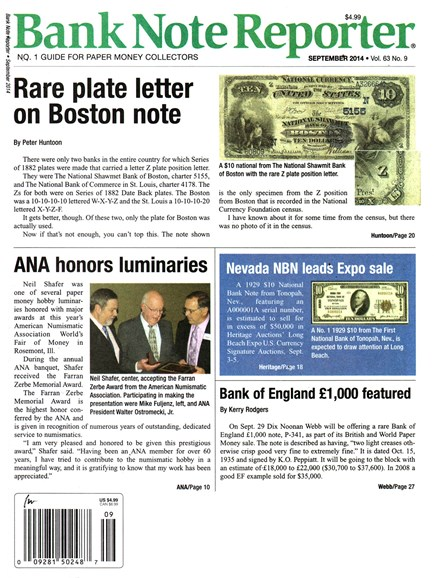 Bank Note Reporter Cover - 9/1/2014