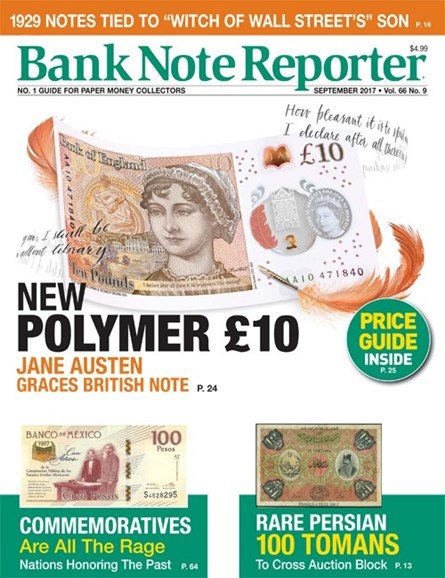 Bank Note Reporter Cover - 9/1/2017