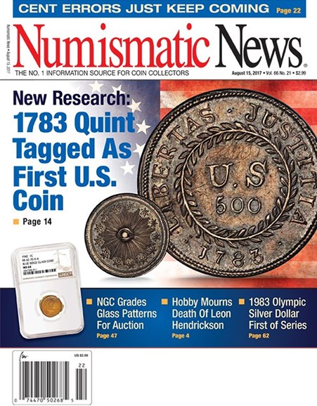 Numismatic News Cover - 8/15/2017