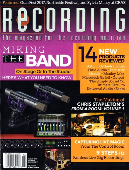 Recording Magazine Cover - 8/1/2017