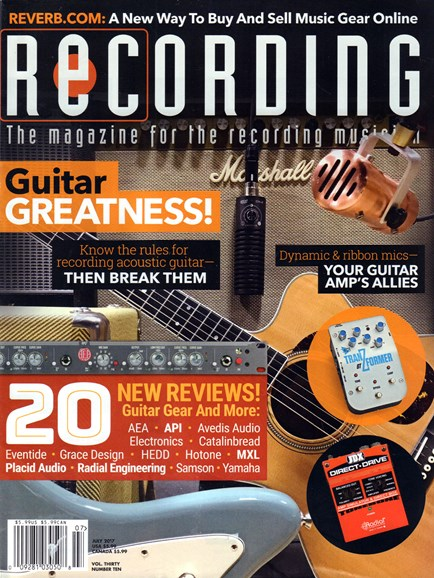 Recording Magazine Cover - 7/1/2017