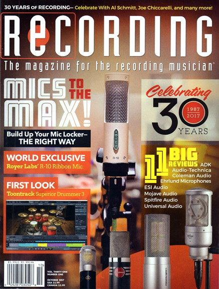 Recording Magazine Cover - 10/1/2017