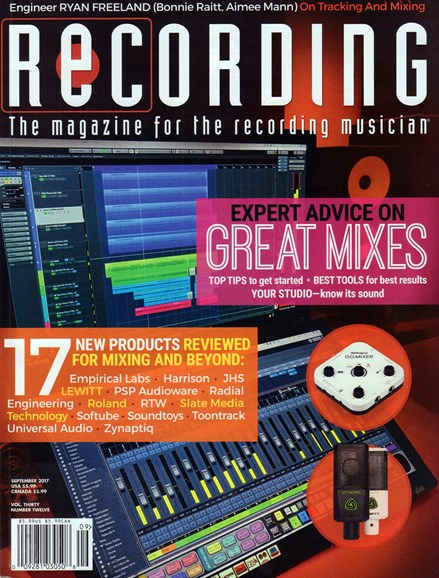 Recording Magazine Cover - 9/1/2017