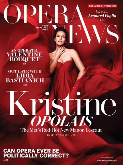 Opera News Cover - 2/1/2016