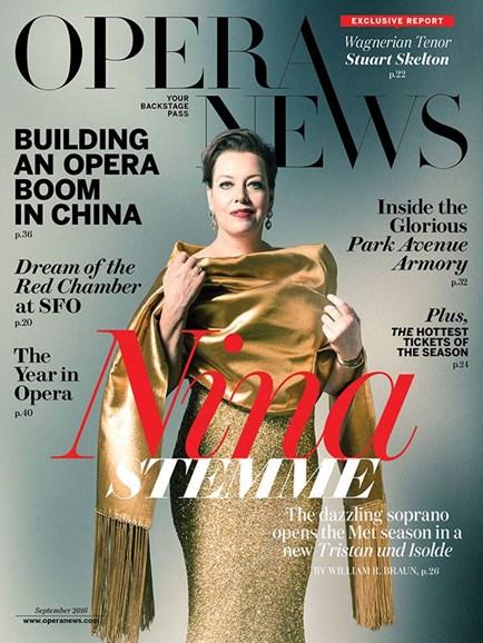 Opera News Cover - 9/1/2016